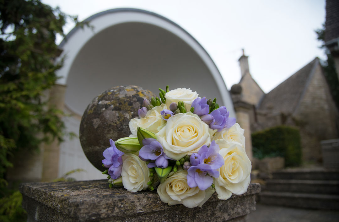 home made wedding flowers at the Painswick Hotel