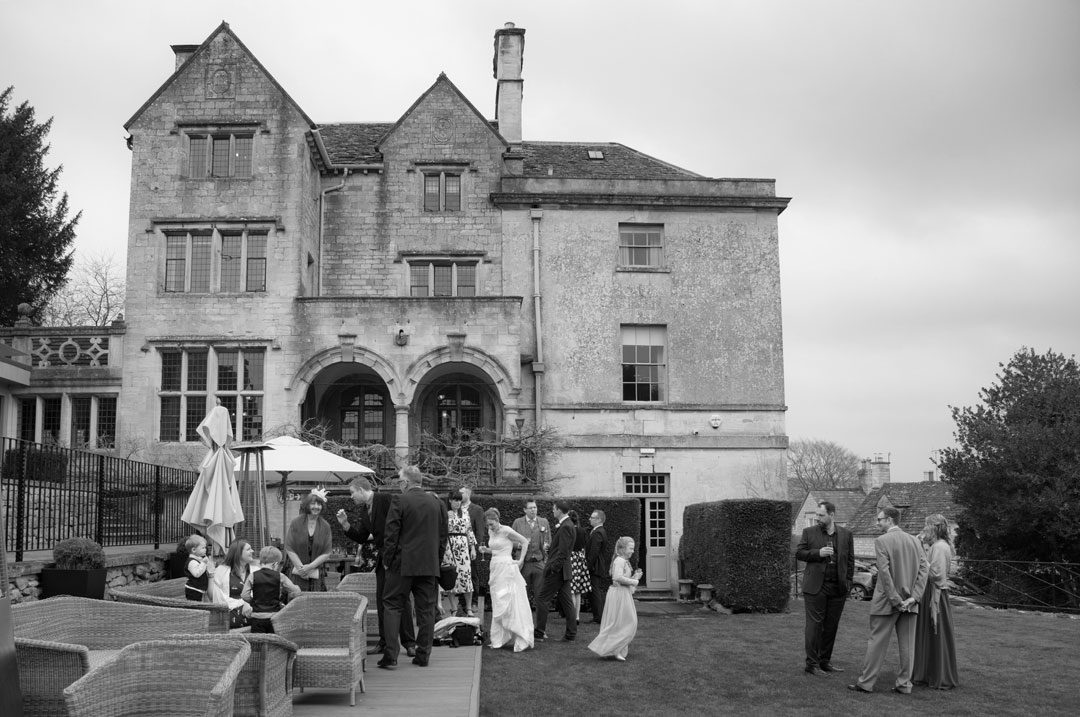 outdoor wedding reception at the Painswick Hotel