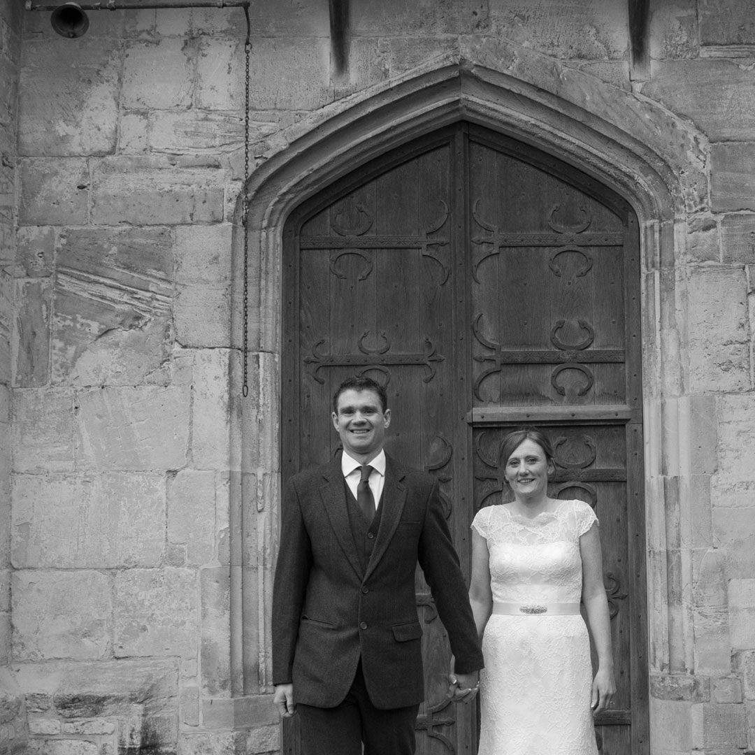 wedding photography at Priors Tithe Barn wedding venue, medival building and door