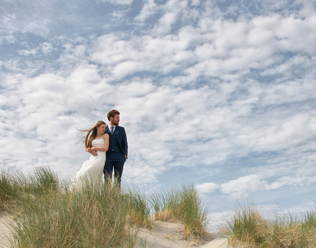 alternative wedding photography in sand dunes, West Wittering, Sussex,