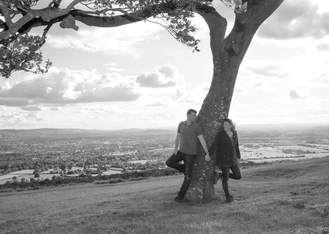engagement photo shoot at Cleeve Hill Cheltenham in black and white